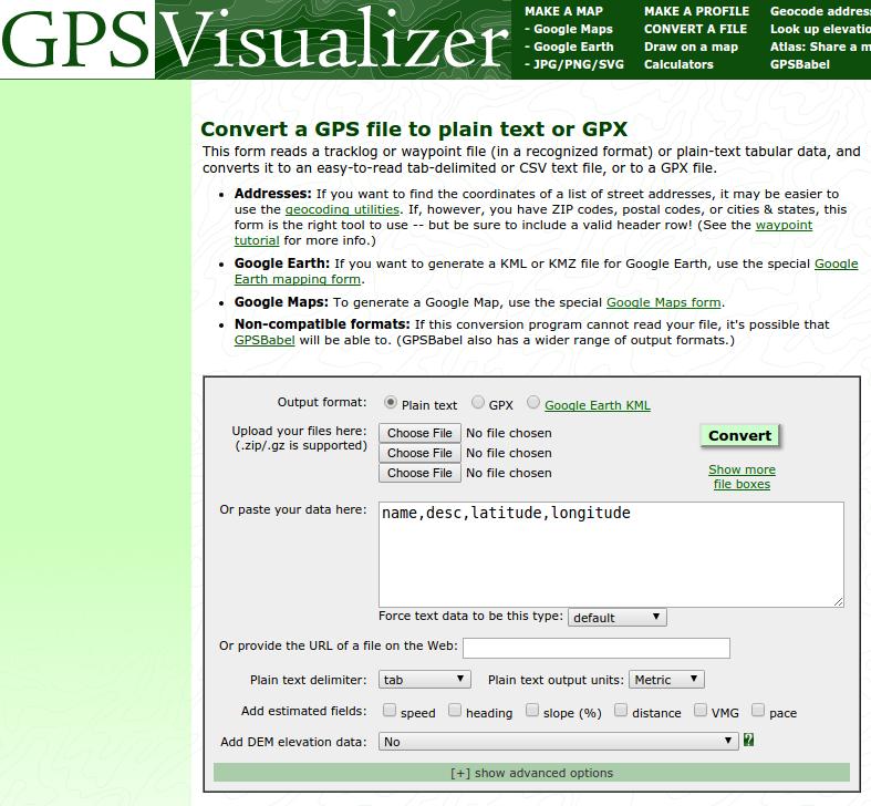 GPSVisualizer website (screenshot)