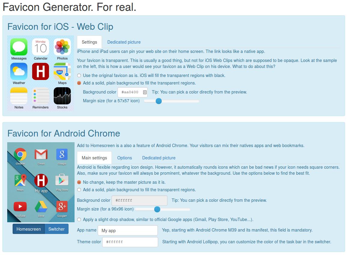 Real Favicon Generator (screenshot)
